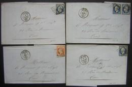 Amiens, Lot De 4 Lettres De 1855 Et 1856, Voir Photos Pour Les Timbres Et Oblitérations ! - Marcophilie (Lettres)