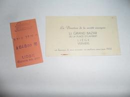 ANCIEN SOUVENIR GRAND BAZAR LIEGE / TICKET DE CAISSE ET CV POUR VOEUX 1952 - Obj. 'Souvenir De'