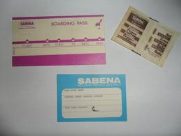 ANCIEN SOUVENIR  /  SABENA  / ETIQ. BAGAGE / POIVRE ET SEL / CARTE DE BORD - Obj. 'Souvenir De'