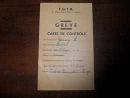ANCIEN SOUVENIR  /  FGTB CARTE CONTROLE  GREVE 1960 - Obj. 'Souvenir De'