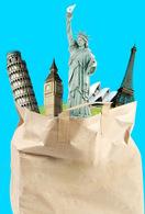 T53-079  ]    Eiffel Tower Pisa            Statue Of Liberty  ,  Pre-stamped Card,postal Stationery - Architettura
