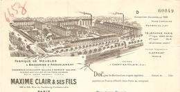 FACTURE 1916 MAXIME CLAIR & FILS RUE DU FG POISSONNIERE PARIS 10 ème - ROTIN OSIER BAMBOU - USINE A CRÉPY EN VALOIS OISE - Francia