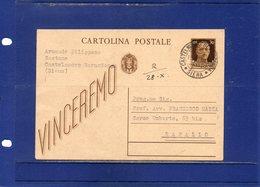 ##(DAN189)-1943-Cartolina Postale  Vinceremo C.30  Da Castelnuovo Berardenga (Siena) Per Rapallo - Marcophilie