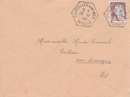 DECARIS 25C SUR LETTRE COURCELLES SUR NIED MOSELLE CAD AGENCE POSTALE 28/11/61 POUR SAILLAC - Postmark Collection (Covers)