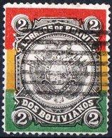 BOLIVIA, STEMMI, COAT OF ARMS, 1897, FRANCOBOLLO USATO YT 53Scott 54 - Bolivia