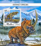MALDIVES 2018 - Extinct Rhinoceros S/S Official Issue - Rhinozerosse