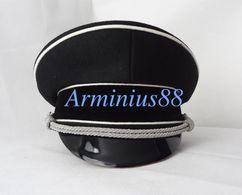 WW2/Wk2 - Casquette élite Officier Allemand - Allgemeine Schwarze Schirmmütze - For Black Dress Uniforms - REPRODUCTION - Headpieces, Headdresses