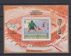 F88.  MNH Ajman Sport Football Mexico Overprint - Invierno 1968: Grenoble