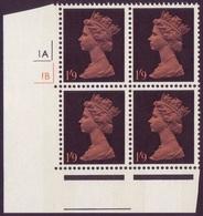 GB 1/9d Pre Decimal Machin With 2 Phosphor Bands - Cylinder Block Of 4  - Cyl 1A & 1B - SG 744 U/M - MNH - 1952-.... (Elizabeth II)
