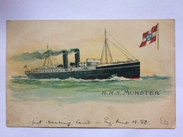R.M.S. Munster - 1905 Kingstown (Dún Laoghaire) To Leominster - City Of Dublin Steam Packet Illustration To Rear - Paquebots