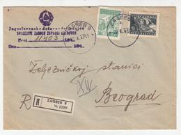 Yugoslav Railway Official Letter Cover Travelled Registered 1948 Zagreb To Beograd B B180910 - 1945-1992 Sozialistische Föderative Republik Jugoslawien