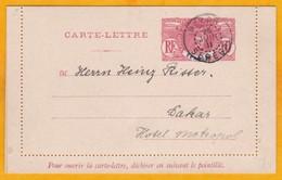 1911 - Entier Postal Carte-Lettre Faidherbe 10 Centimes Rouge De Dakar, Sénégal En Ville - Brieven En Documenten