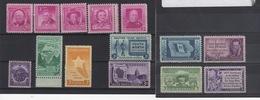 Varios Sellos 14 Unidades 1946 / 1952 Estados Unidos Con Goma Sin Señales MNH** - United States