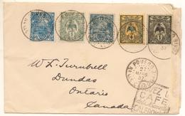 Lettre  De Puebo Pour Le Canada De 1937 Avec 5 Timbres  Cagou Et Rade + Daguin Mini 120 € - Nuova Caledonia