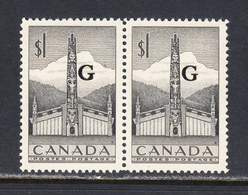 Canada 1952-53 Official, Mint No Hinge, Pair, Sc# O32 , SG O195 - Officials