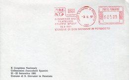 37962 Italia, Red Meter Freistempel Ema 1991 S.giovanni Persiceto, Sport Congress Group, Cycling,ski,football Etc. - Radsport
