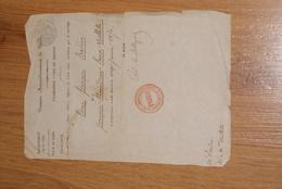 Certificat De Mariage (Paris 1850) - Seals Of Generality