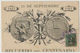 Recuerdo Del Centenario 15 De Septiembre 1821 - 1921  . Circulada - Costa Rica
