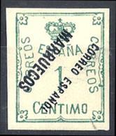 1921 1927 Corona Y Cifra 1 Centimo Con Sobrecarga Invertida Negro RRR VC 260€ - Marruecos Español