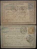 Amiens,1876 Lot De 2 Cartes Précurseur Desmaret Leclerq ( Fers), Voir Photos Pour Les Timbres Et Oblitérations ! - Postmark Collection (Covers)
