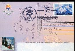 37974 U.s.a. Special Postmark 2002 Salt Lake City, Figure Skating Februar 2002, Circuled Card To Italy - Winter 2002: Salt Lake City
