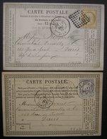 Abbeville (Somme) Cardon Wamain Fils Et Gendre  Chanvre Fils Et Ficelles, Lot De 2 Cartes Précurseur 1875 Et 1876 - Storia Postale