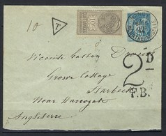 Sage Taxée ( Fiscal Non Accepté ) à Destination De L'Angleterre, Taxe Anglaise - Postmark Collection (Covers)