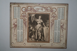 Calendrier  - 1914  - Jeanne D'Arc ( Ingres ) - Musée Du Louvre - Calendars