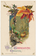 WITH THANKSGIVING GREETING - DESIGN COPYRIGHTED, JOHN WINSCH, 1911 - INDIAN GIRL, Turkey, Corn Stalks, Leaves - Embossed - Thanksgiving
