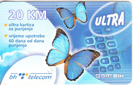 BOSNIA - Butterflies, BH Telecom Prepaid Card 20 KM, Exp.date 28/10/06, Used - Bosnia