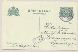 Nederland - 1914 - Grootrond Tram Stempel WINSCHOTEN-STADSKANAAL Op Antwoordbriefkaart Naar Groningen - Poststempels/ Marcofilie