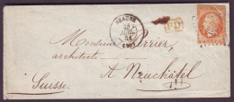 COTE D'OR - LSC- Tàd T15 BEAUNE + PC 325 Sur N° 16 -> Neuchatel (Suisse) - Postmark Collection (Covers)