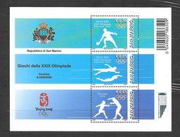San Marino 2008  Olimpiade Di Pechino Foglietto Nuovo/mnh** - Blocchi & Foglietti