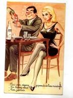 CARRIERE  Pour Mon Regime Je Prends De L'eau Minerale En Buvez Vous? Non Jamais, Couple Attablé, Femme Sexy - Carrière, Louis