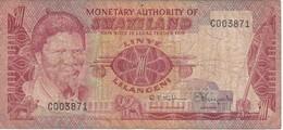 BILLETE DE SWAZILAND DE 1 LILANGENI DEL AÑO 1974   (BANKNOTE) LEON-ELEFANTE-LION-ELEPHANT - Swaziland