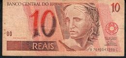 BRAZIL P245j 10 REAIS (1994)  # A7640....C  Signature 25   AVF NO P.h. ! - Brésil