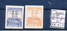 BELGIAN CONGO RUANDA URUNDI 1941 ISSUE COB 122/23 IMPERFORATED MNH BUT PARAFIN GUM - 1924-44: Neufs