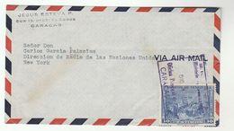 1950 VENEZUELA Airmail COVER To  UN RADIO UNITED NATIONS Usa Stamps Broadcasting - Venezuela
