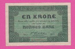 NORVEGE 1 Krone De 1917 Pick 13 - VF+ - Norvège