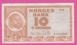 NORVEGE 10 Kroner De 1965 Pick 31d - VF+ - Norvège