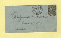Type Semeuse - Gare De Troyes - Aube - Destination Autriche - 18 Nov 1903 - 1877-1920: Période Semi Moderne