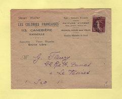 Type Semeuse - Lettre A En Tete Venez Visiter Les Colonies Francaises - Parfums... - Voir Au Dos - Marseille - 1877-1920: Période Semi Moderne
