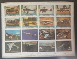 GL - UMM AL-QIWAIN 1972 Mi. 1274B-1289B Military & Civil Planes Fighters DELUXE SHEET (Cartoon) IMPERFORATED - MNH - Umm Al-Qiwain