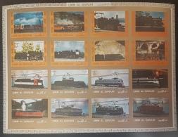 GL - UMM AL-QIWAIN 1972 Mi. 1210B-1225B Trains, Railways DELUXE SHEET (Cartoon) IMPERFORATED - MNH - Umm Al-Qiwain