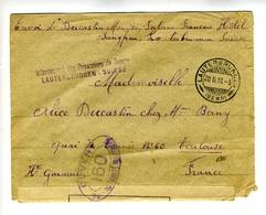 LTR2  Lettre 1918 Internement Des Prisonniers De Guerre Lauterbrunnen, Cachet Censure - Franchigia