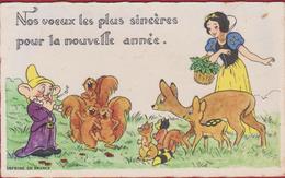 Chromo Small Greeting Card Disney Walt 7 Dwarfs 7 Dwergen Nains Blanche Neige Sneeuwwitje Snowwhite Seven Sept Zeven - Cartes De Visite