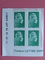 Timbre France - Marianne D'Yseult Digan - L'engagée - Coin Daté De 4 Timbres Lettre Verte - Neuf - Sellos Autoadhesivos