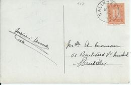 Fantasiekaart Met OCB 108 - Afstempeling NALINNES - COBA 8 - 1912 Pellens