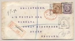 Nederlands Indië - 1899 - 10 Cent Hangend Haar Op R-Envelop G3  Van VK BANJOEWANGI Naar Bucks / UK - Nederlands-Indië