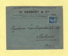 Type Semeuse - Krag Paris RP Depart - Destination Allemagne - 1920 - 1877-1920: Période Semi Moderne